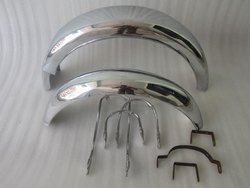 New Triumph T140 Front And Rear Chrome Mudguards With Stays And Brackets