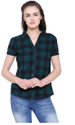 Green Cotton Plaid Checks Half Sleeved Shirt