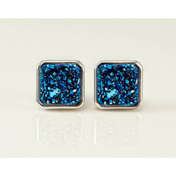 Jewellers Paradise Square Shape Square Druzy Stud Earrings, Size: 9 mm