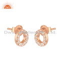 Zircon Gemstone Rose Gold Plated Silver Earrings