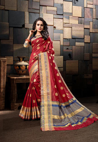 d8da214dcb8a6b Cotton Silk Weaving Saree With Blouse Piece, Rs 895 /piece | ID ...
