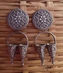 Festival Silver Look Alike Brass Earrings.