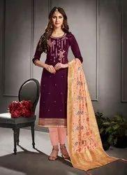 Cotton Silk Regular Churidar Suits With Banarasi Dupatta