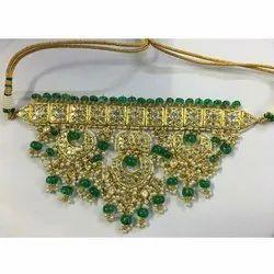 Ladies Party Wear Gold Natural Uncut Diamond Polki Jadau Nacklace Set