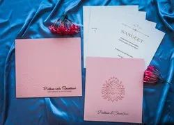 Pink Pull-Out Insert Pastel Shade Wedding Invitation Card With Laser Cut Motif, Size: 21.1cm x 23.7cm