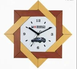 Analogue Multicolor Promotional Wooden Wall Clock for Office & Business Promotion, Size: 13 X13