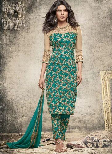 c27a50107ea Cotton Bottle Green And Beige Color Party Wear Designer Salwar Suit ...