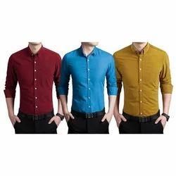 Men Cotton Polo Neck Plain Shirt, Size: S-XL