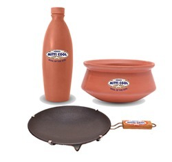Combo Offer Earthern  NonStick Tawa With Handle,Handi,Water bottle