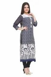 PRINTED SUMMER KURTI WITH TUSSEL
