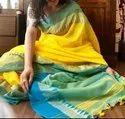 Festive Wear Soft Cotton Temple Work Sarees, 6.3 M (with Blouse Piece)