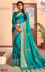 Designer Sana Silk Saree With Border And Embroidery Butta