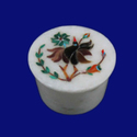 White Marble Mosaic Inlay Jewelry Box