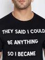 Cotton Men Black Half Sleeve T-Shirt