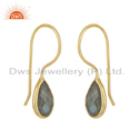14k Gold Plated Silver Pear Cut Labradorite Gemstone Earrings Jewelry
