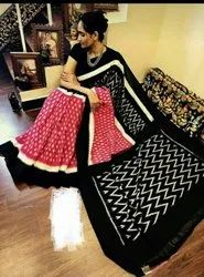 Cotton Printed Trandy Sarees with Blouse Piece, Length: 6.3 m