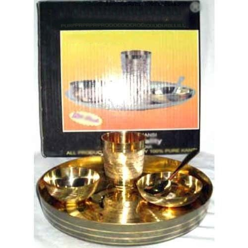 Yellow Bowl Brass Thali Set, Round, Size: 11no