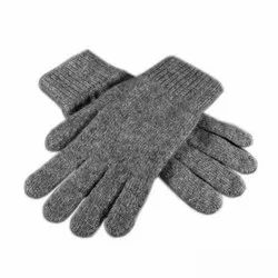 Woolen Grey Plain Hand Gloves