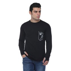Full Sleeves Mens Round Neck Cotton T Shirt, Size: S-XXL