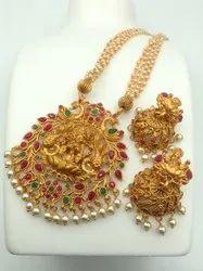 Sapna FX Copper Pearl Temple Jewellery Set - J 320