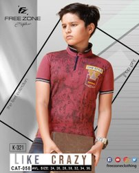 Round Printed Free Zone Kids Collar Neck Cotton T Shirt