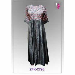 Ladies Printed Long Party Wear Kurti, Size: S-XL