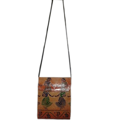 Embroidered Leather Passport Sling Bag