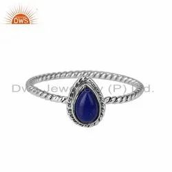 Lapis Lazuli Gemstone Antique Oxidized 925 Silver Ring Jewelry Supplier