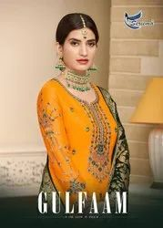 Gulfaan Heavy Designer Satin Georgette With Embroidery Work For Festival Wear Sharara Suits