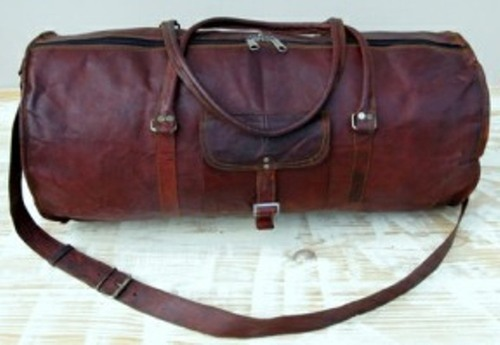 Vintage Brown Round Carry Leather Duffel Bag b65f04fe20371
