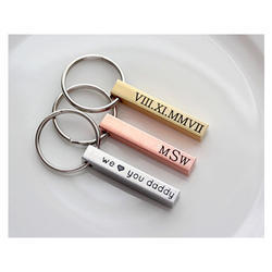 Multicolor Metal Engraved Key Chain