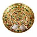 Golden Peacock Designed Meenakari Brass Puja Thali