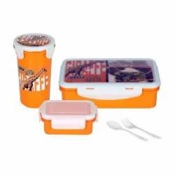 Rema - Lunch Box Gift Set with Bottle - Tiffin with Lock Bottle Spoon Fork