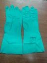 Green Rubber Super Nitrile Flocklined Hand Gloves