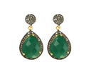 Nanplanetsilver Green Onyx Pave Diamond Set Earrings