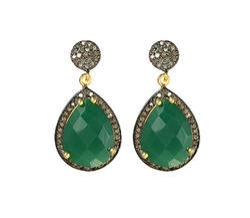 Green Onyx Pave Diamond Set Earrings