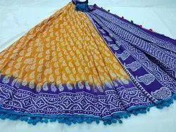 Bagru Hand Block Printed Pom Pom Lace Cotton Mulmul Saree