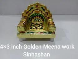 4x3 Inch Golden Meena Work Sinhashan