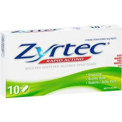 Zyrtec Allopathic 10mg Cetirizine Hydrochloride Tablets, Packaging Type: Box
