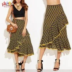Multicolor Summer Wear Casual Skirts For Woman