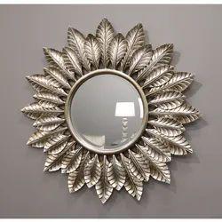 Leaf Sunburst - Champagne Silver Art Deco Round Mirror