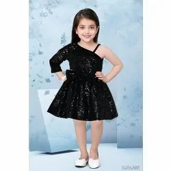 Imported Sequence Kids Girls Party Wear Black Frock
