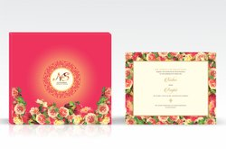 Floral Red Wedding Card