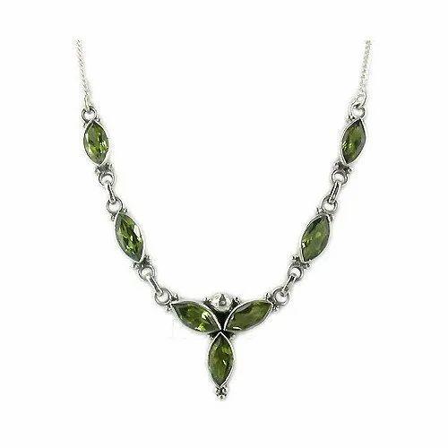 Green Gemstone Sterling Silver Necklace
