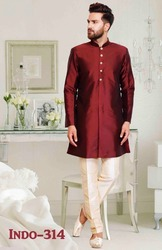 Mens Indian Indo Western Suit Maroon
