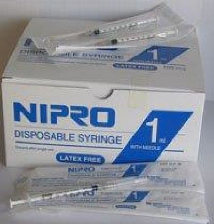Nipro 1ml Syringe With Needle 26g 05 Box Of 100