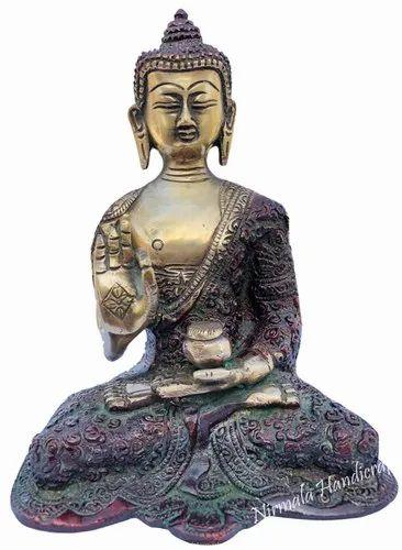 Brass Blessing Sitting Buddha Statue Antique Plain Work God Idol Figurine
