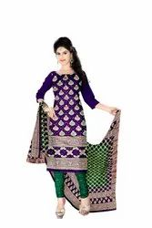 Purple And Green Color Fancy Design Gadhwal Bandhani Dress Material