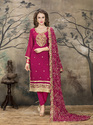 Magenta Pink Georgette Dress Material