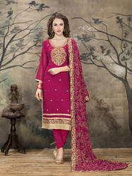 Magenta Pink Georgette Dress Material